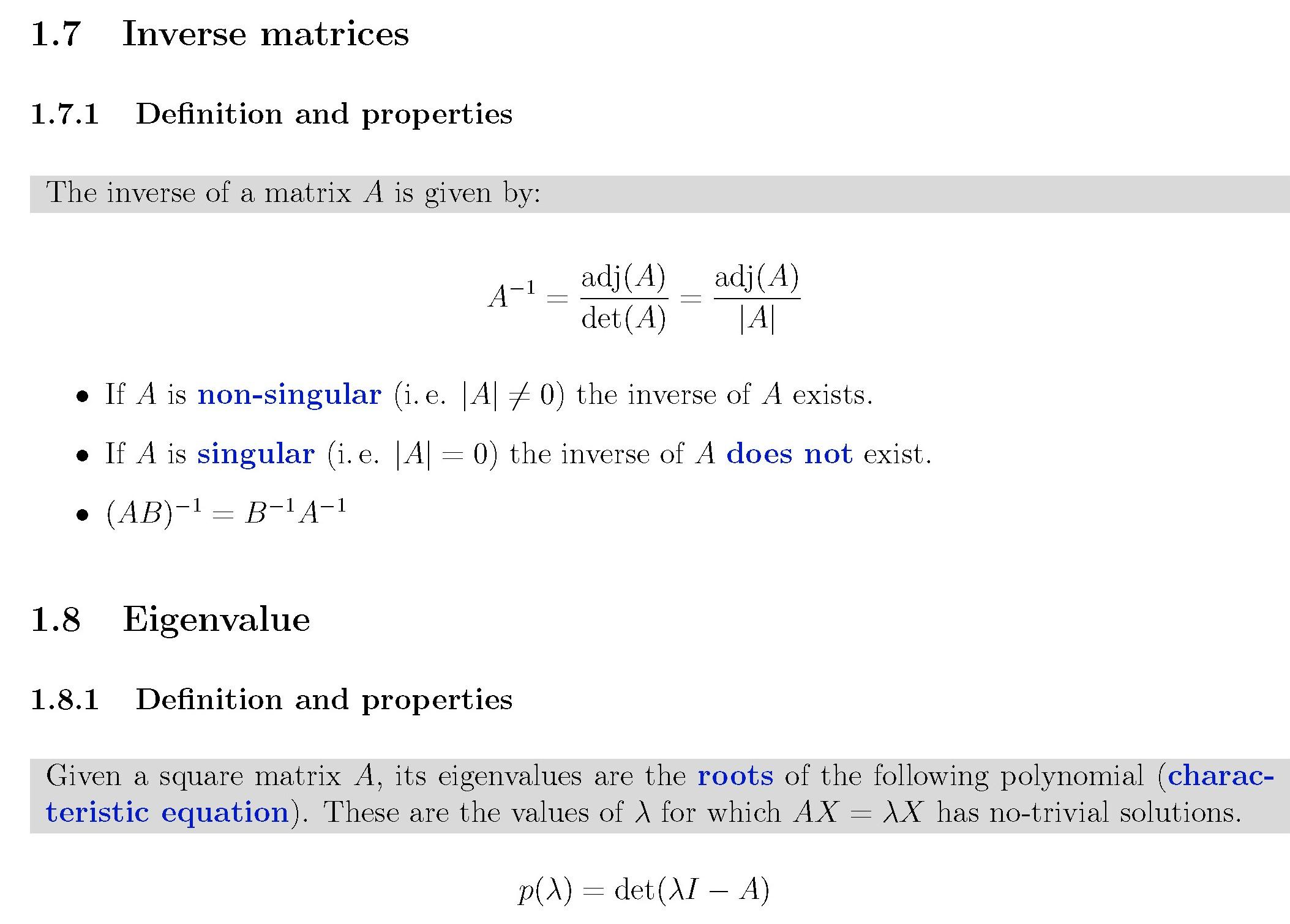 Auszug aus der privaten Formelsammlung für das Fach Modern Control (Regelungstechnik 2, Matrizenrechnung) der Newcastle University - gezeigt wird die Inverse Matrix und Eigenwerte