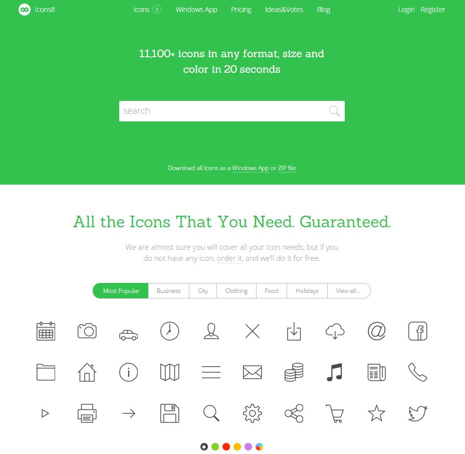 Screenshot der icon8.com-Webseite (Stand 25.05.2015)