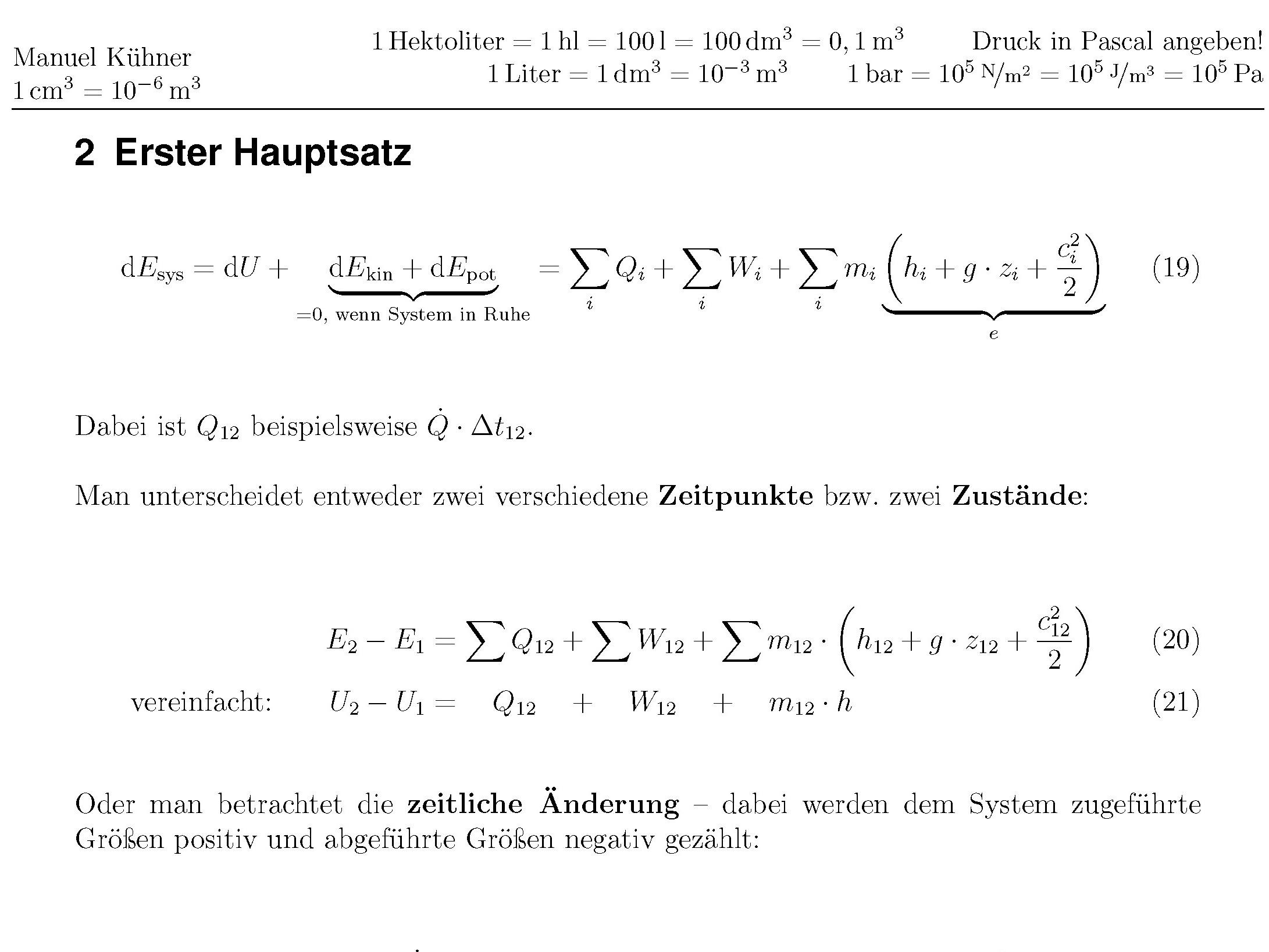 Auszug aus der Formelsammlung für die Vorlesung Thermodynamik 1 (TUM) - gezeigt wird der erste Hauptsatz (Energieerhaltung)