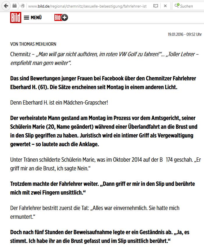 Screenshot eines Beitrags auf Bild.de, erstellt am 26.01.2016 gegen 20 Uhr