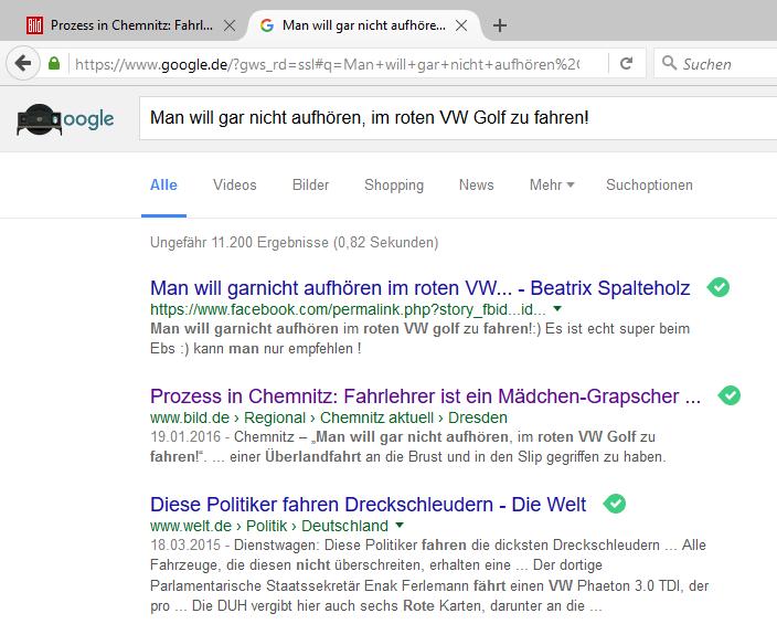 Screenshot der eines Suchergebnisses von Google, erstellt am 26.01.2016 gegen 20 UHr