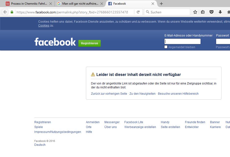 Screenshot einer verwaisten Facebook-Seite, erstellt am 26.01.2016 gegen 20 Uhr