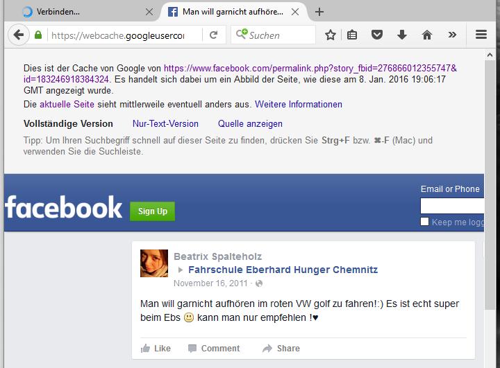 Screenshot einer Facebook-Seite im Cache von Google, erstellt am 26.01.2016 gegen 20 Uhr