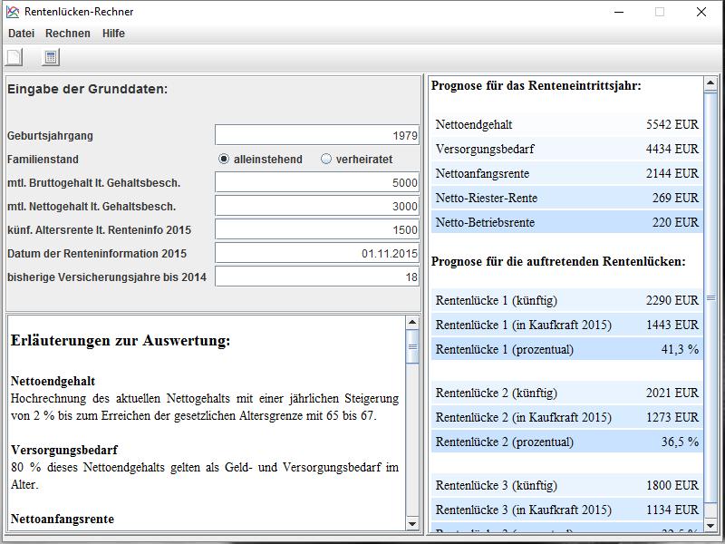 Rentenlücke - Rechner von www.test.de