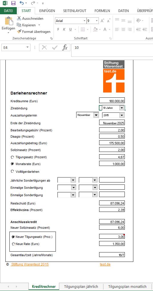 Screenshot des Baudarlehens-Rechners von www.test.de